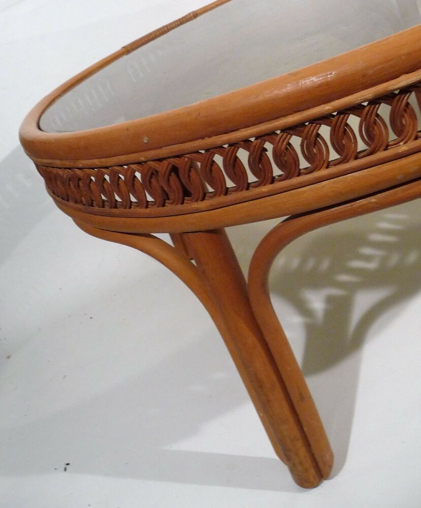Vintage Mid Century Hollywood Regency Bent/Woven Bamboo