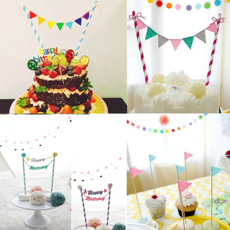Cake Decor Flags : Baby Bunting Banner Kit Topper Tools Cup Cake Picks Birthday Party Flags Decor eBay