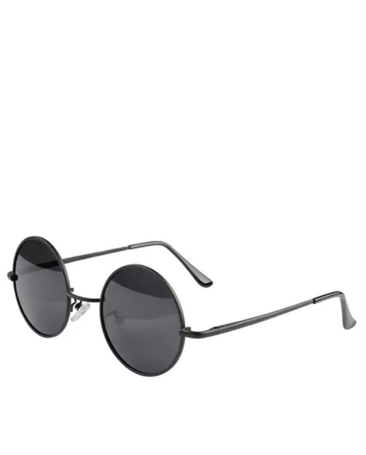 Vintage Retro Men Women Round Metal Frame Sunglasses Black ...
