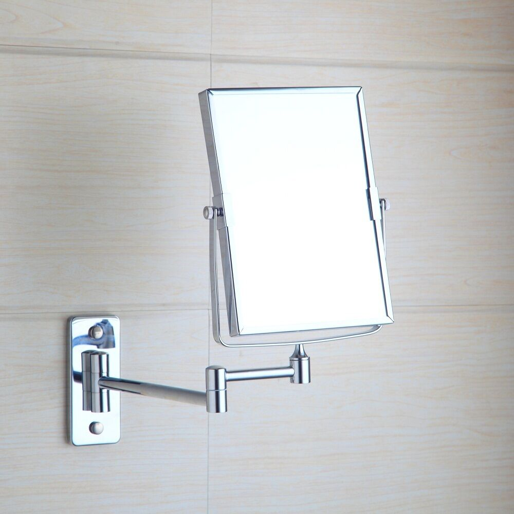Chrome Square Wall Mounted Foldable Make Up Mirror Beauty