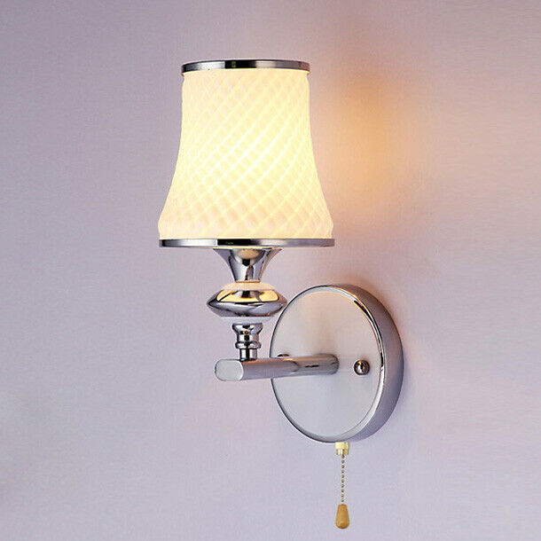3W LED Wall Sconce Fixture Light Glass Lampshade Pull Switch Lamp Aisle Bedroom eBay