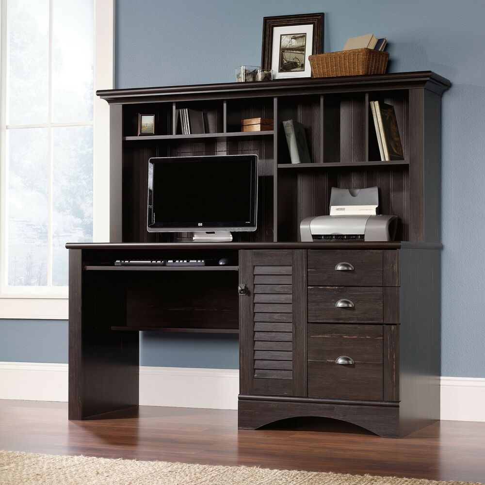 New Sauder Harbor View Computer Office Desk With Hutch