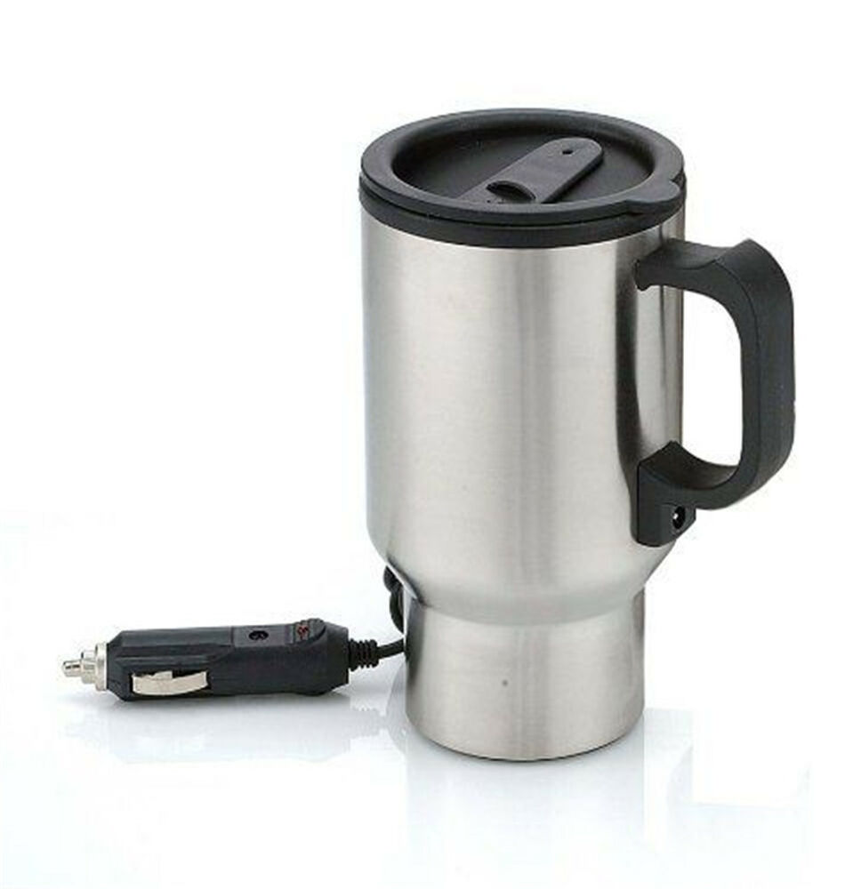 stainless steel 12v car auto adapter heating cup heated travel mug thermos ebay. Black Bedroom Furniture Sets. Home Design Ideas