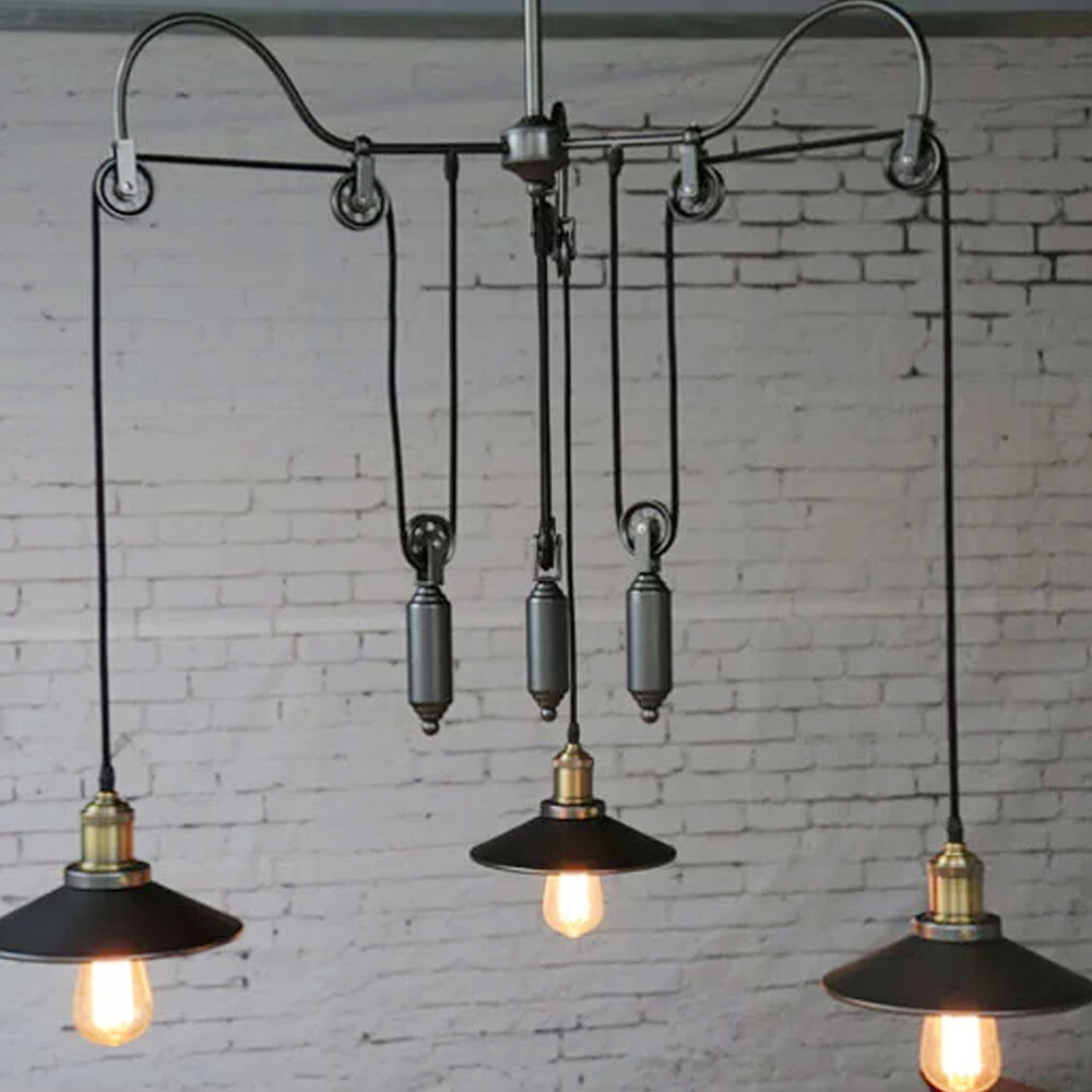vintage edison industrial pulley pendant lights adjustable wire