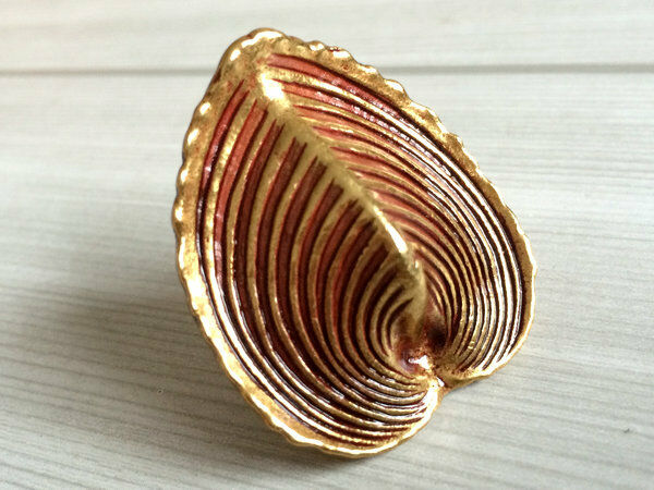 Oyster Shell Knob Drawer Pull Cabinet Door Knob Gold