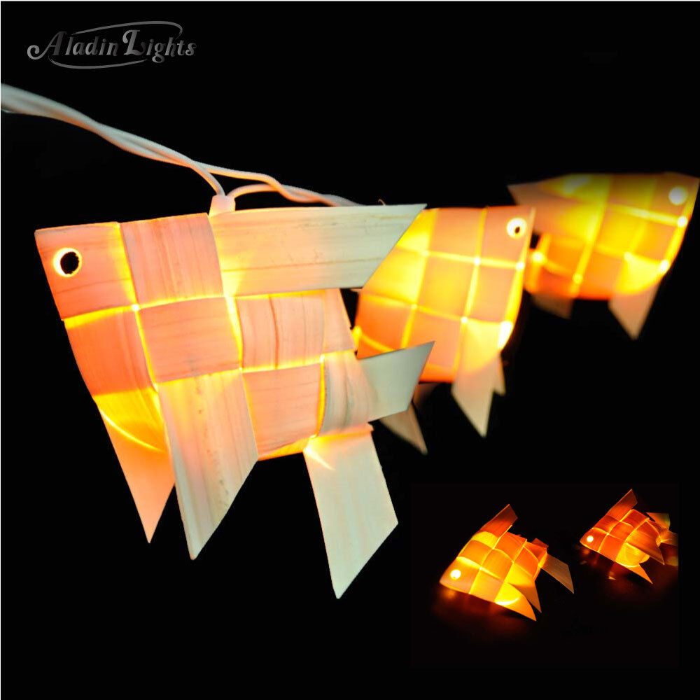 Gaiashine 20 35 wood fish lantern string lights fairy for Fish string lights