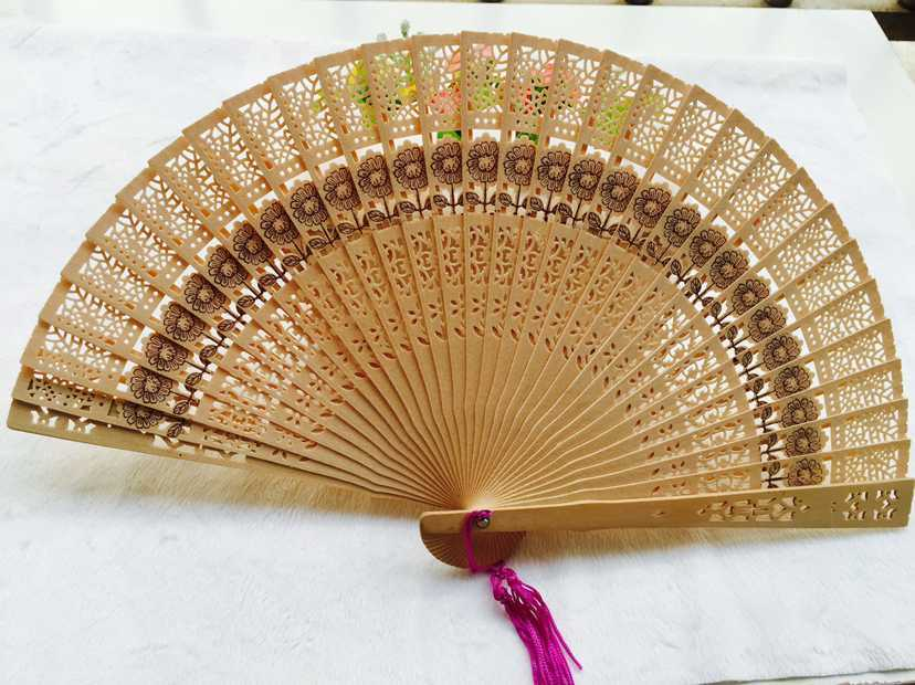 Chinese Bamboo Folding Hand Fan Wedding Party Flower