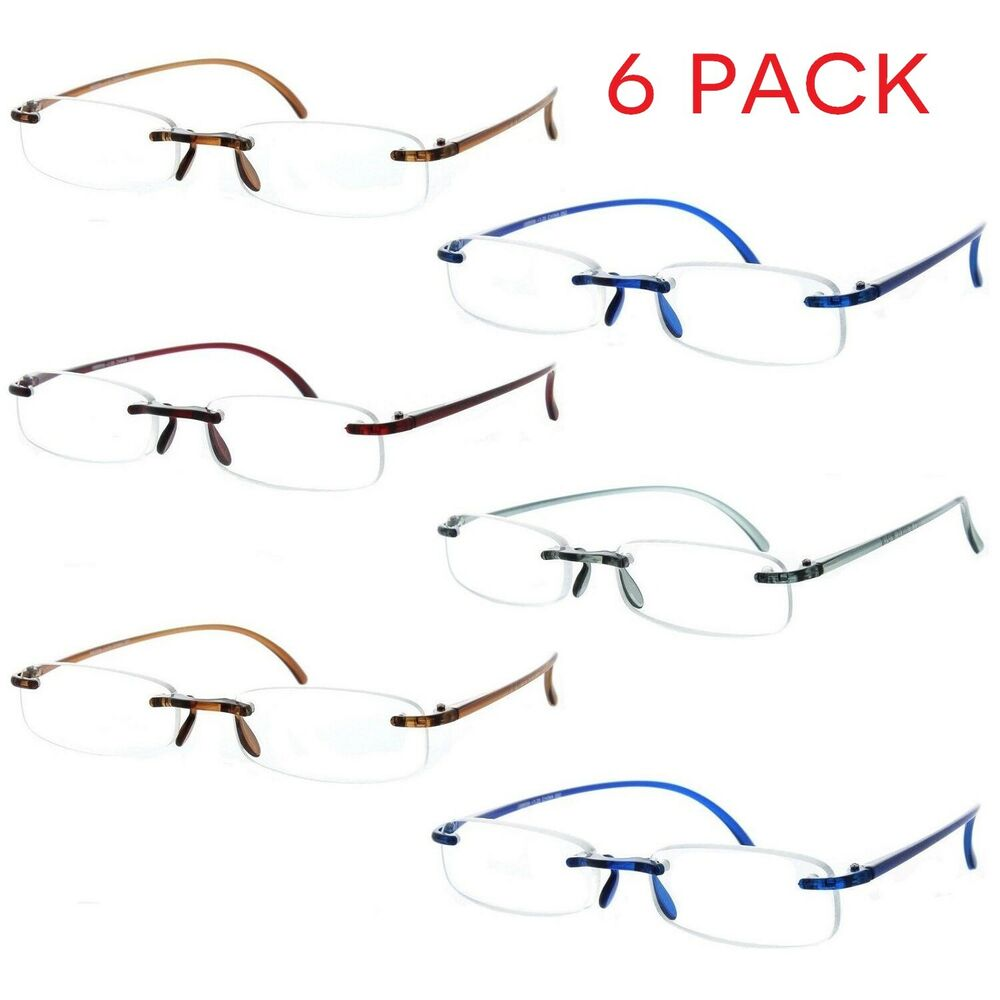 39510a05aebc Fiore 6 Pack Reading Glasses Lightweight Flexible Readers for Men and Women
