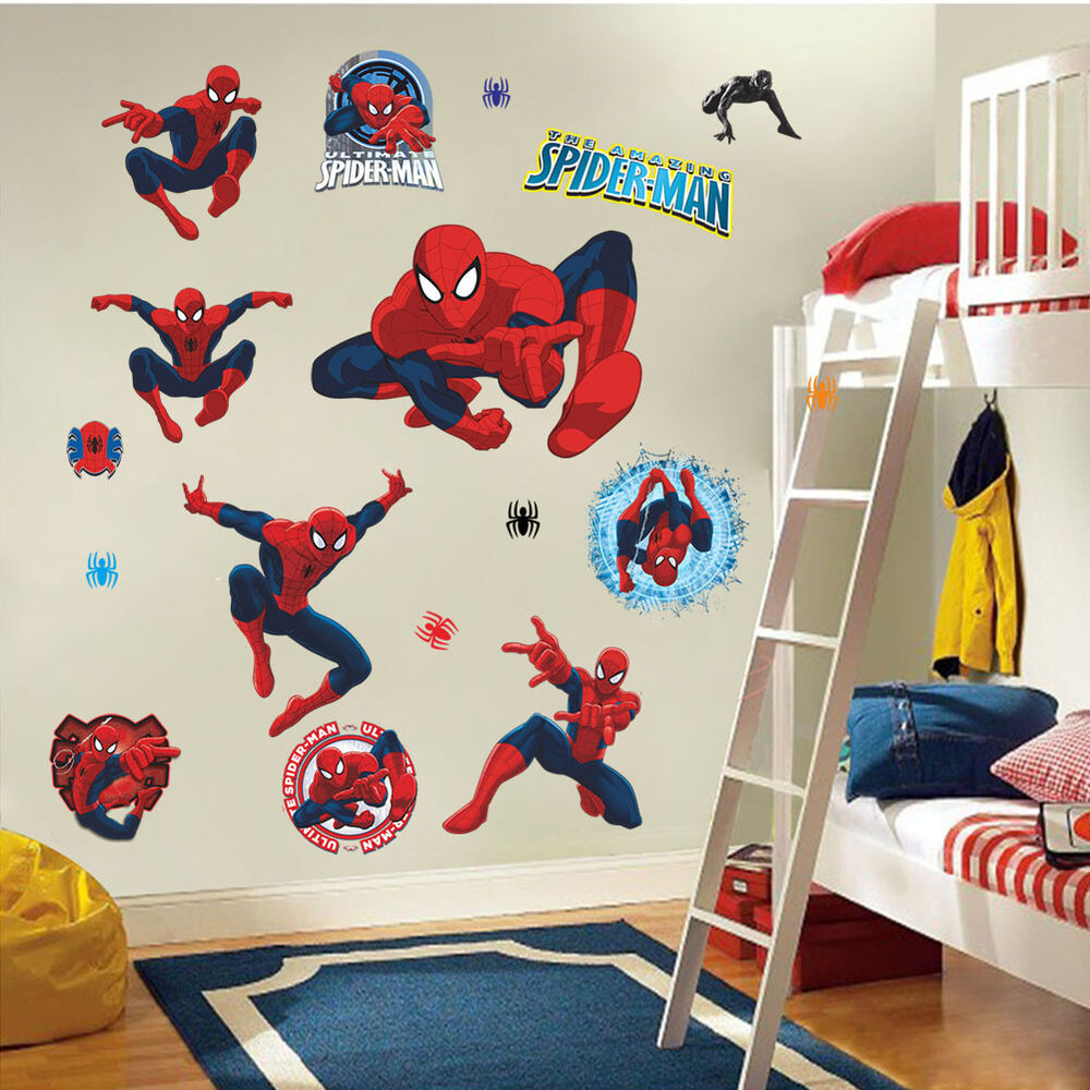 Spider man kids room decor wall sticker boy gift home for Boys wall mural