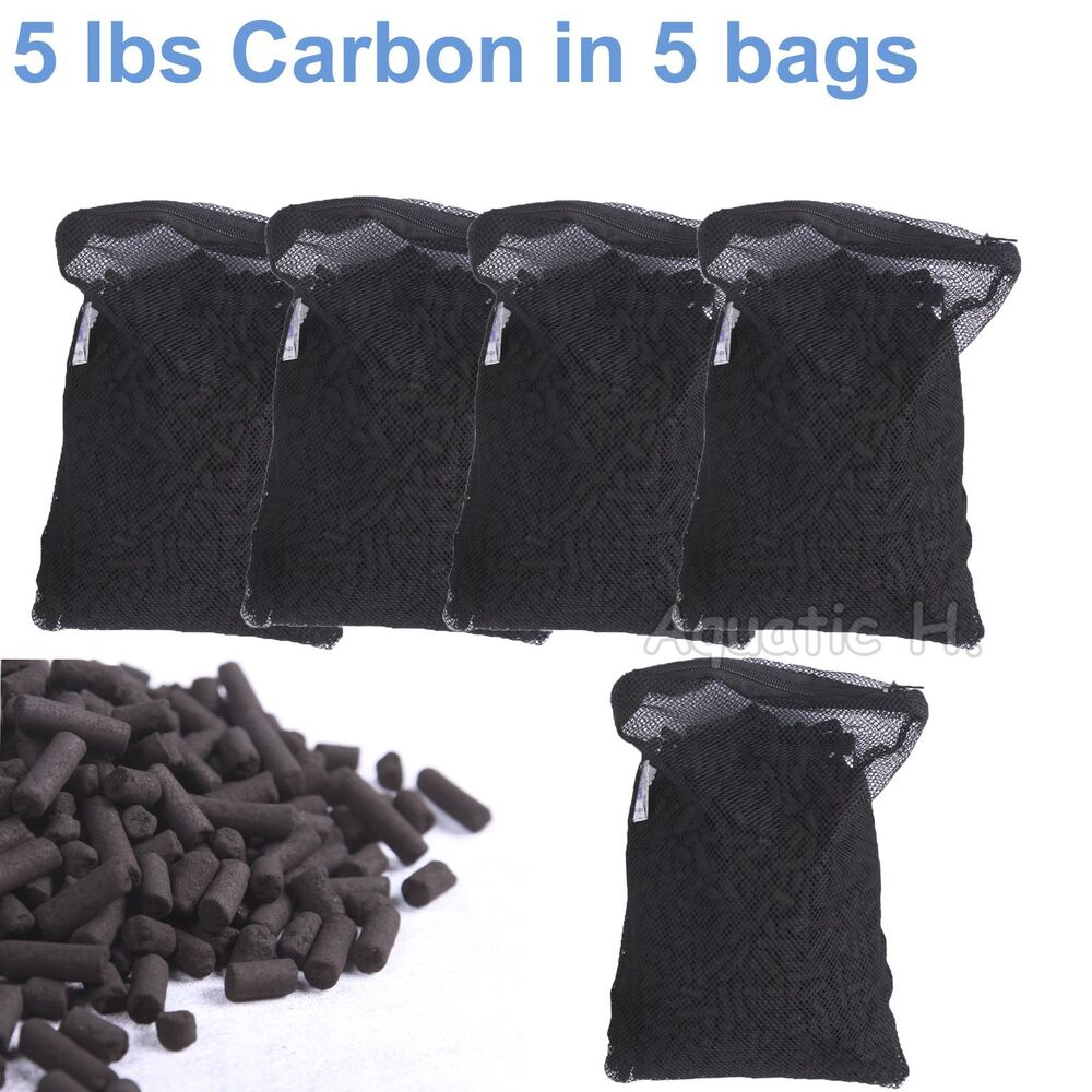 Activated charcoal carbon in 5 mesh bags for aquarium pond - Activated charcoal swimming pool filter ...