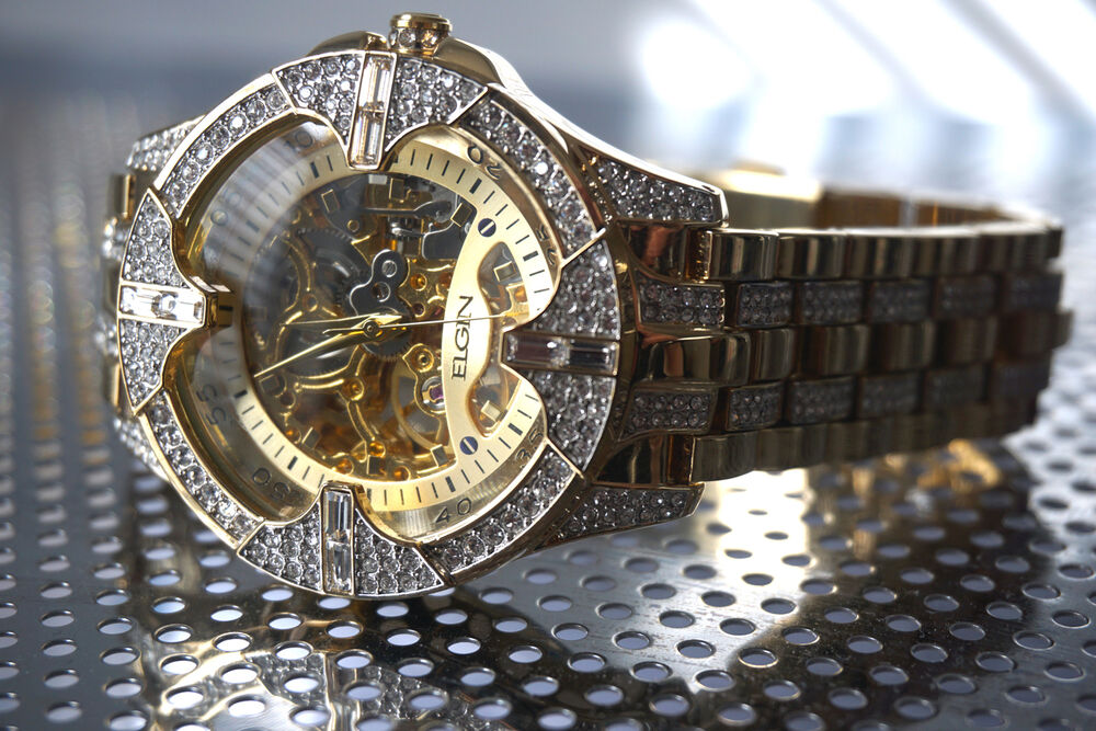 elgin mens skeleton automatic gold tone plated luxury crystal elgin mens skeleton automatic gold tone plated luxury crystal watch stunning