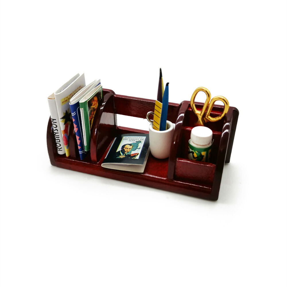 Dollhouse Miniature Desk Bookcase Scissor Pen Books Ruler