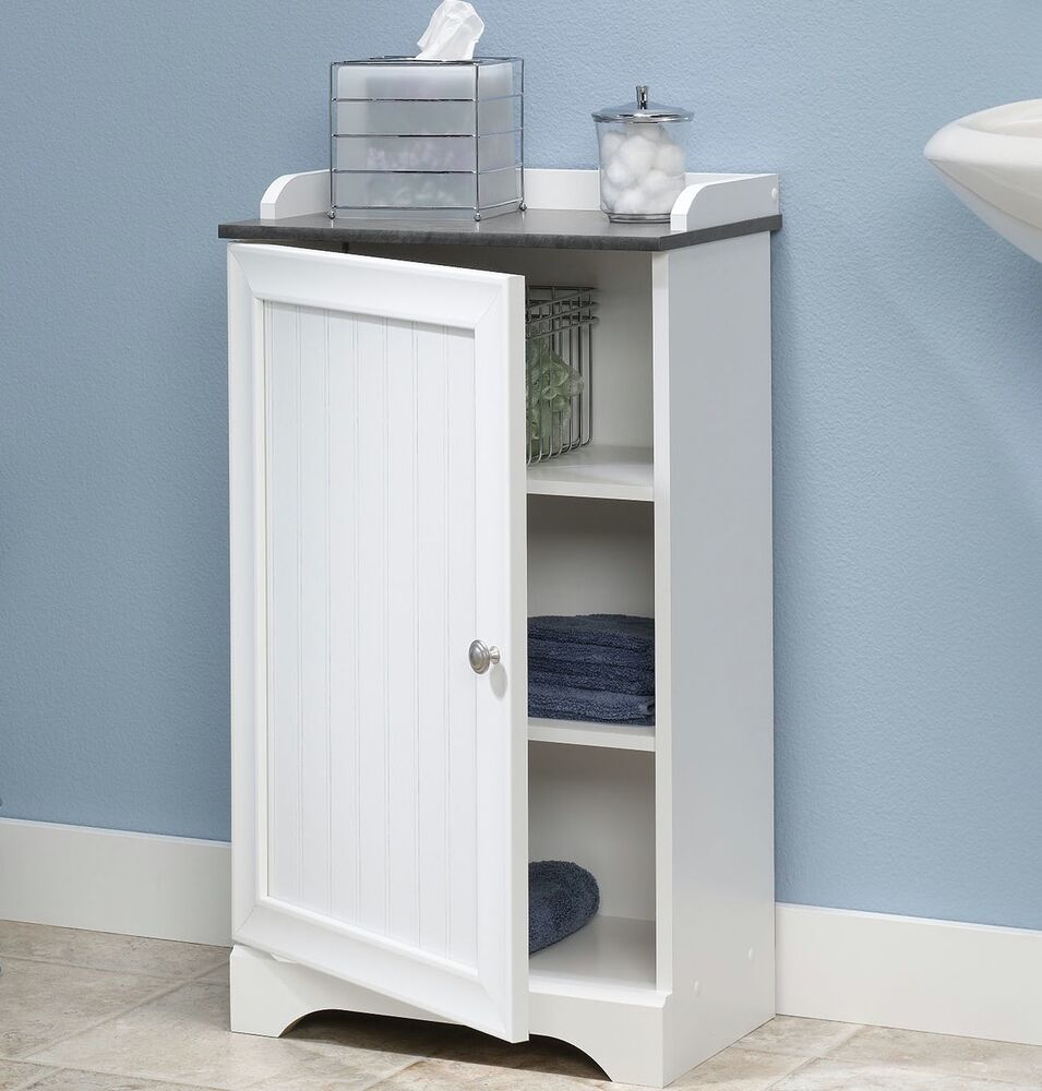 White Bathroom Furniture Storage Cupboard Cabinet Shelves: Floor Storage Cabinet Bathroom Organizer Cupboard Shelf
