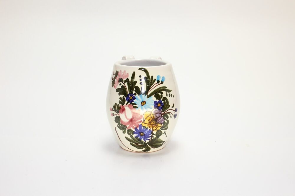 Flower pattern clay vase pot hand painted made in italy ebay for Design patterns for pot painting