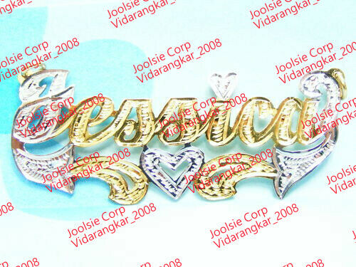 Jessica 14k Gold Silver 925 Name Plate Chain Necklace Ebay