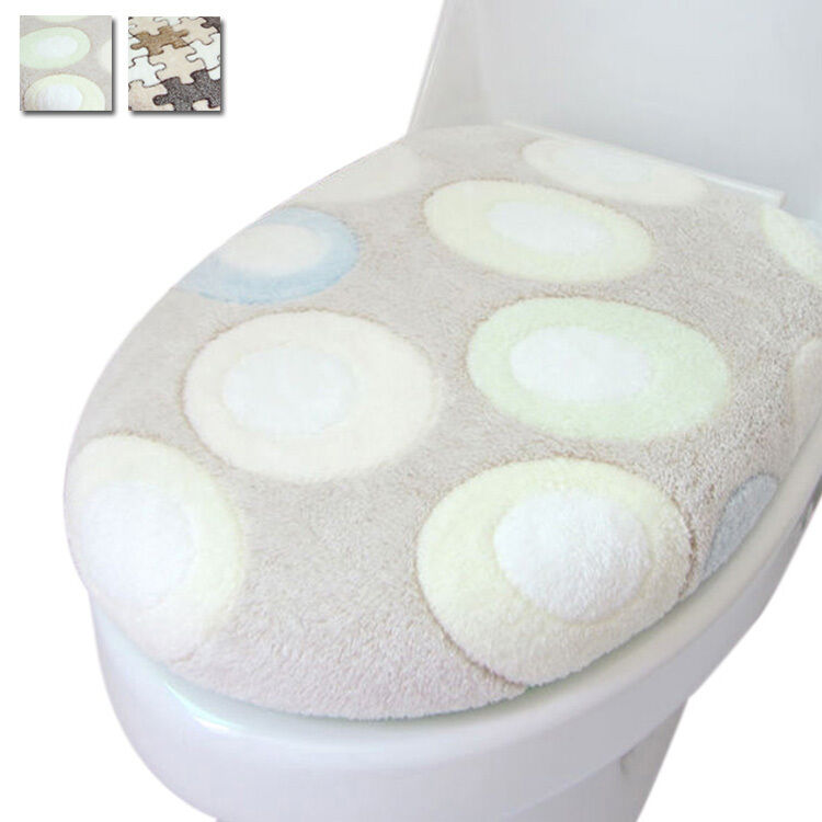New 2PC Toilet Cover Set Super Soft Coral Seat Lid Cover Closestool Bathroom