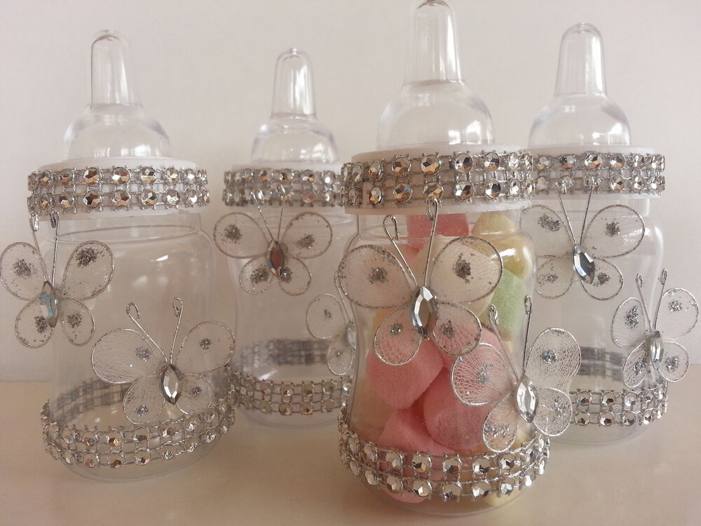 12 fillable butterfly bottles favors prizes or games baby for Baby bottles decoration