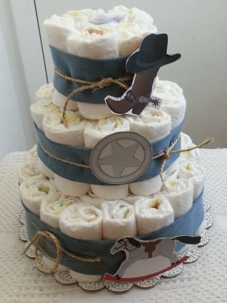 3 Tier Country Western Blue Denim Diaper Cake Baby Shower