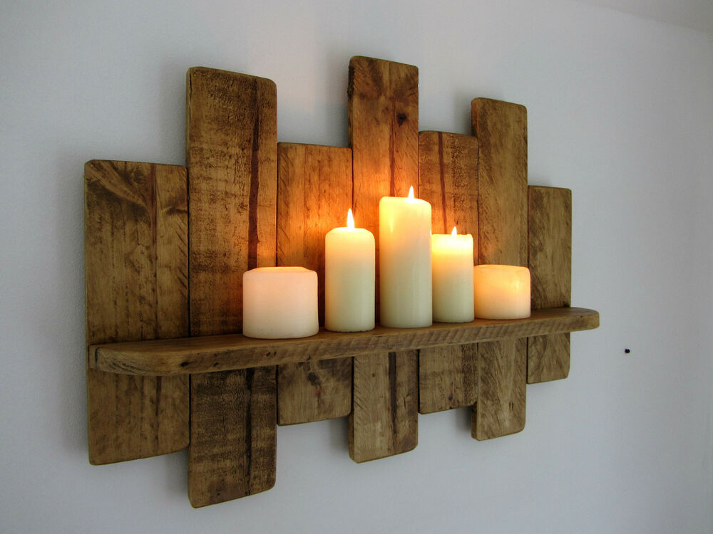 66CM RECLAIMED PALLET WOOD SHELF RUSTIC SHABBY CHIC
