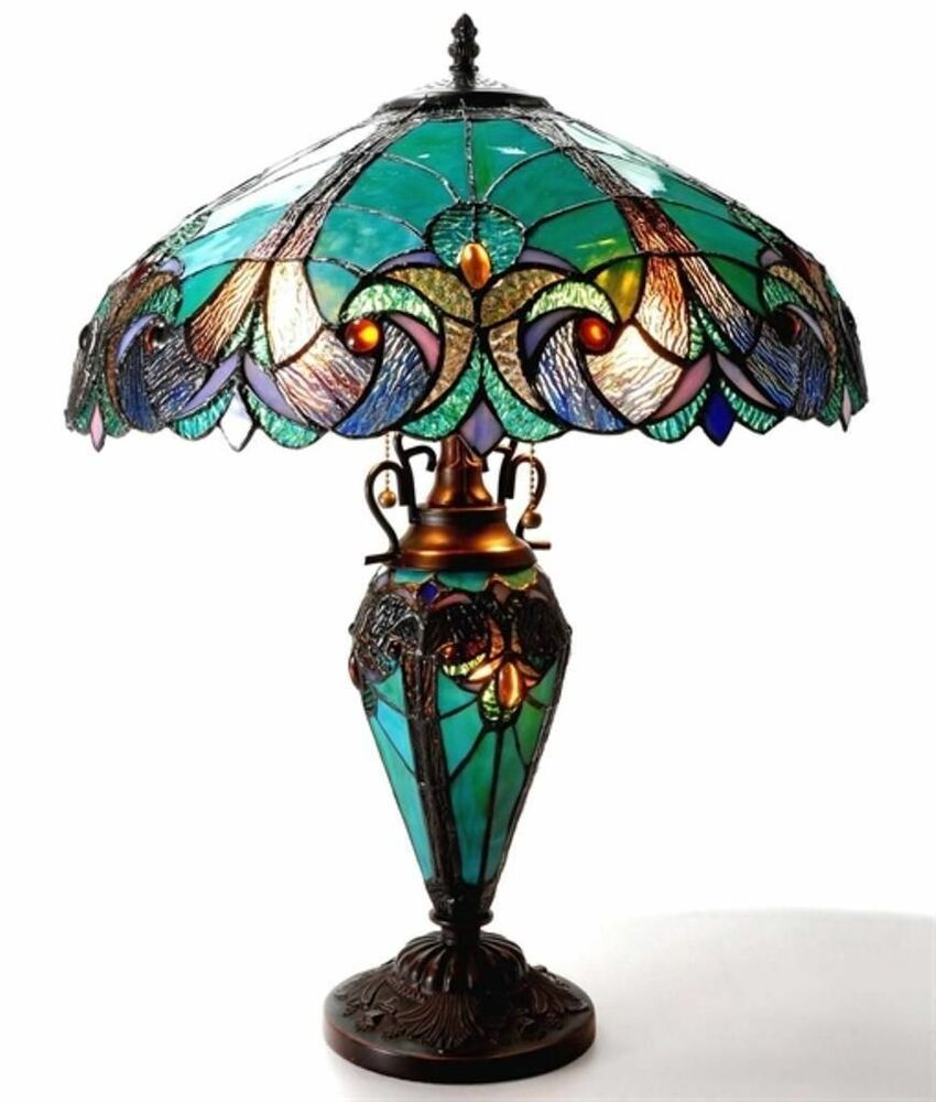 Tiffany Style Stained Glass Victorian 3 Way Night Light In