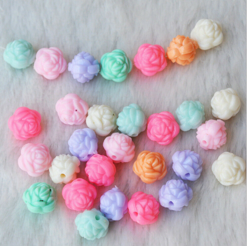 Kid Craft Beads: 100pcs Mix Color Jewelry Beads 12mm Flower Rose Kids