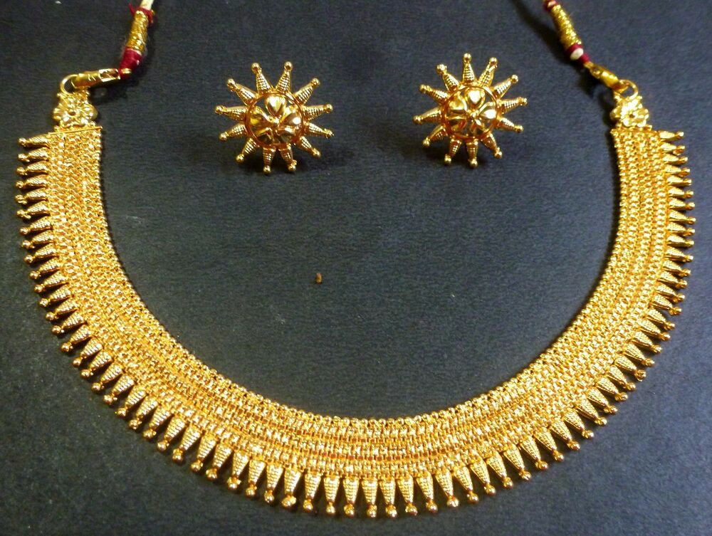 Indian Bridal South Indian Surya Haar Gold Plate Necklace Earrings Jewelry Set
