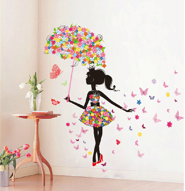 Butterfly Girl Removable Wall Art Sticker Vinyl Decal Diy Room Home Mural Decor Ebay