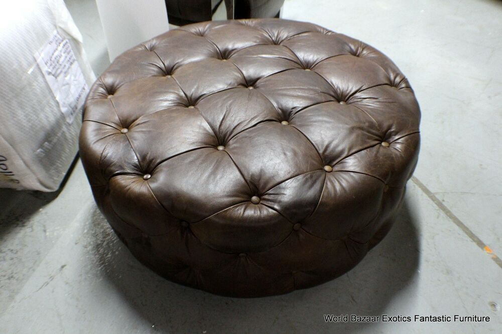 41 Quot Large Gorgeous Round Tufted Cocktail Ottoman Vintage Brown Cigar Leather Ebay