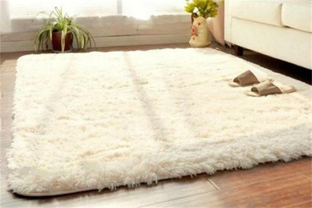 Soft fluffy rugs anti skid shaggy rug dining room home for Bedroom rugs
