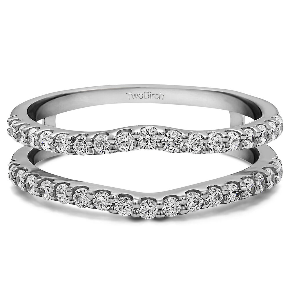 Shared Prong Wedding Ring Guard Enhancer With Diamonds