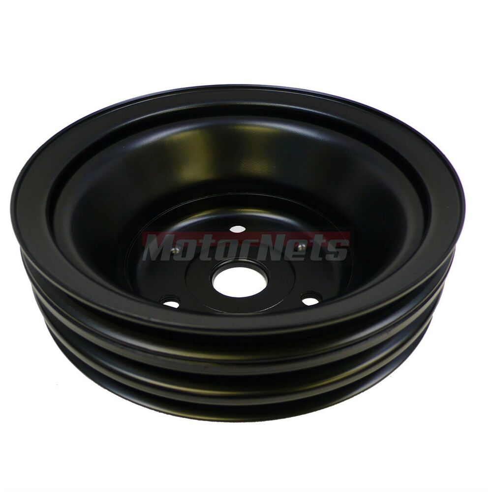 Black Small Block Chevy CrankShaft Pulley Fit Long Water