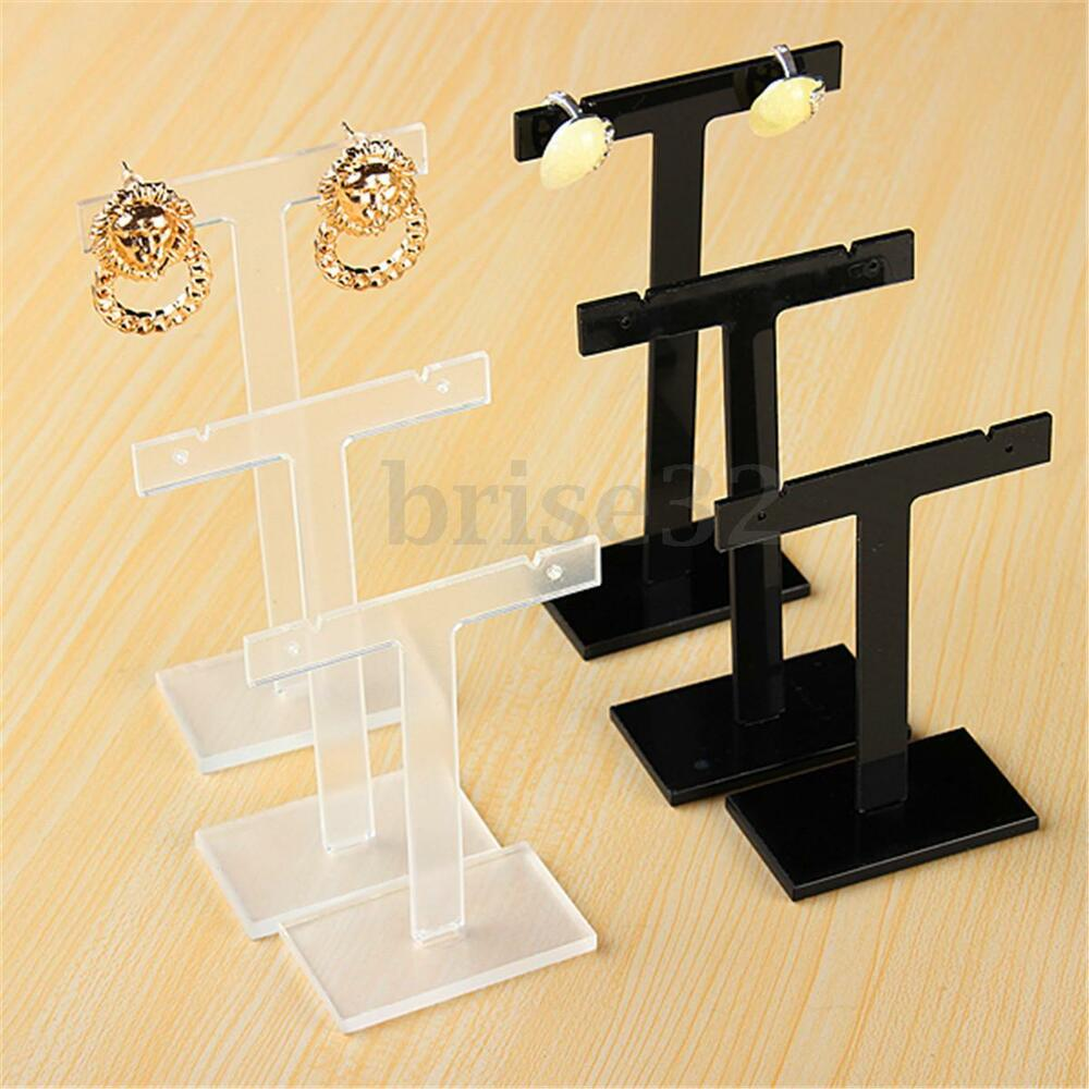 3x t bar earrings stand jewelry display holder rack. Black Bedroom Furniture Sets. Home Design Ideas