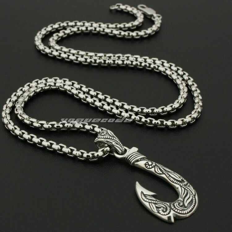925 sterling silver fish hook mens biker rocker punk for Fish hook necklace