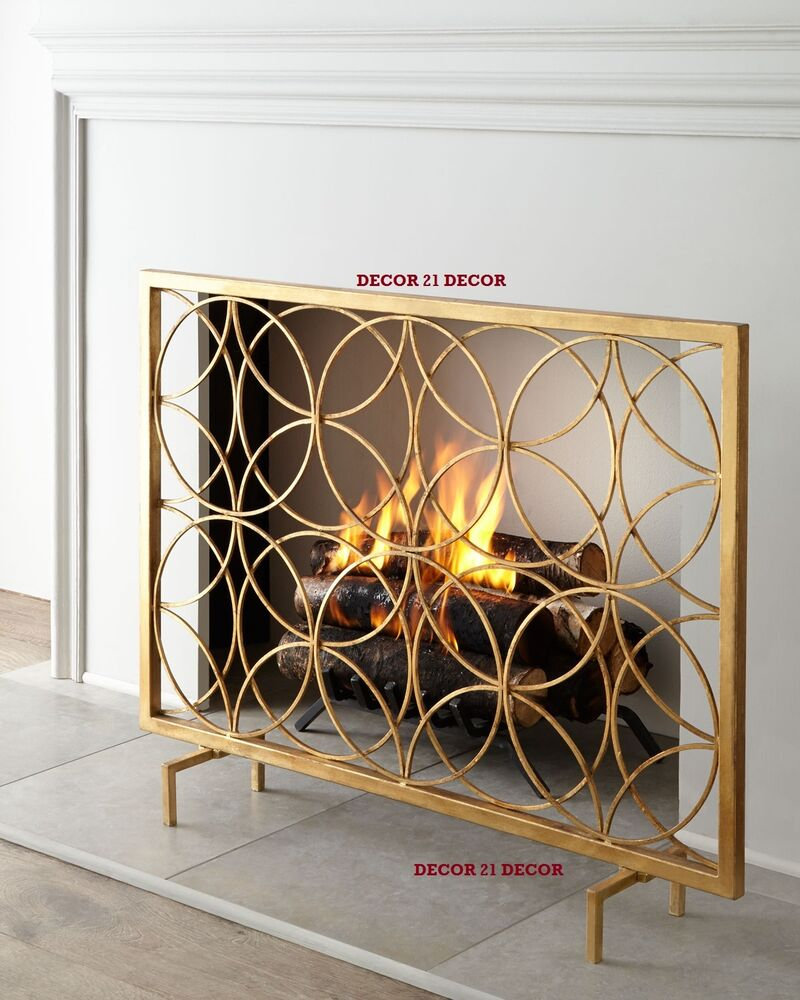Italian gold fireplace screen horchow ebay Decorative fireplace screens
