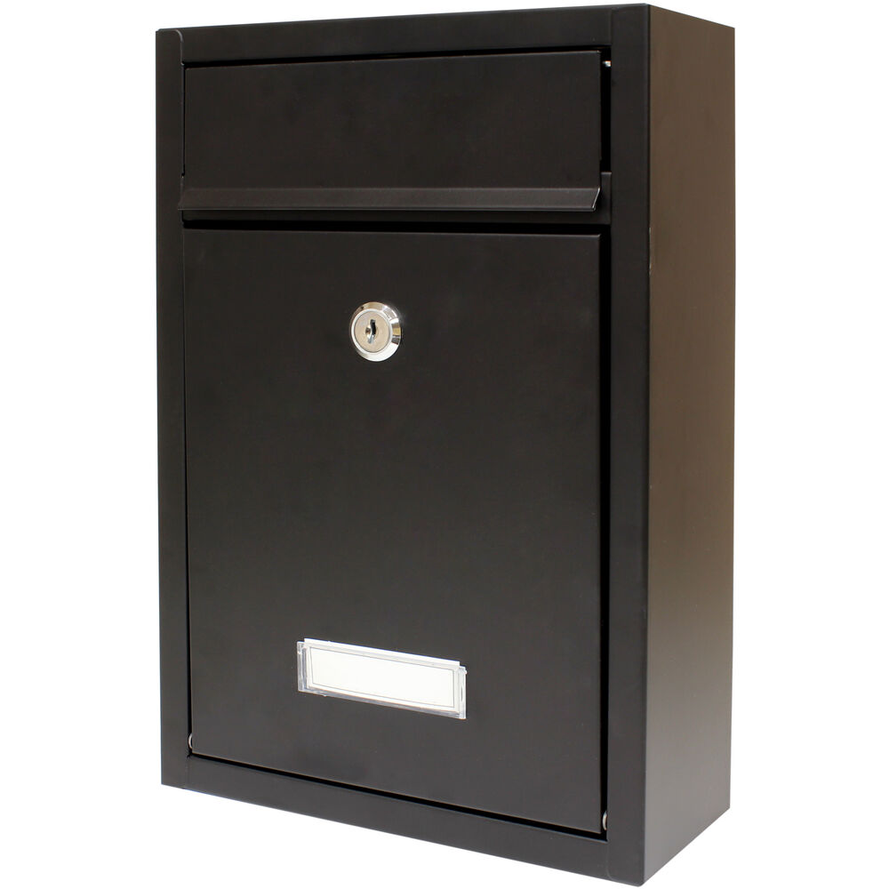 Saw Wall Mount Box : Hardcastle lockable black wall mounted letter mail box