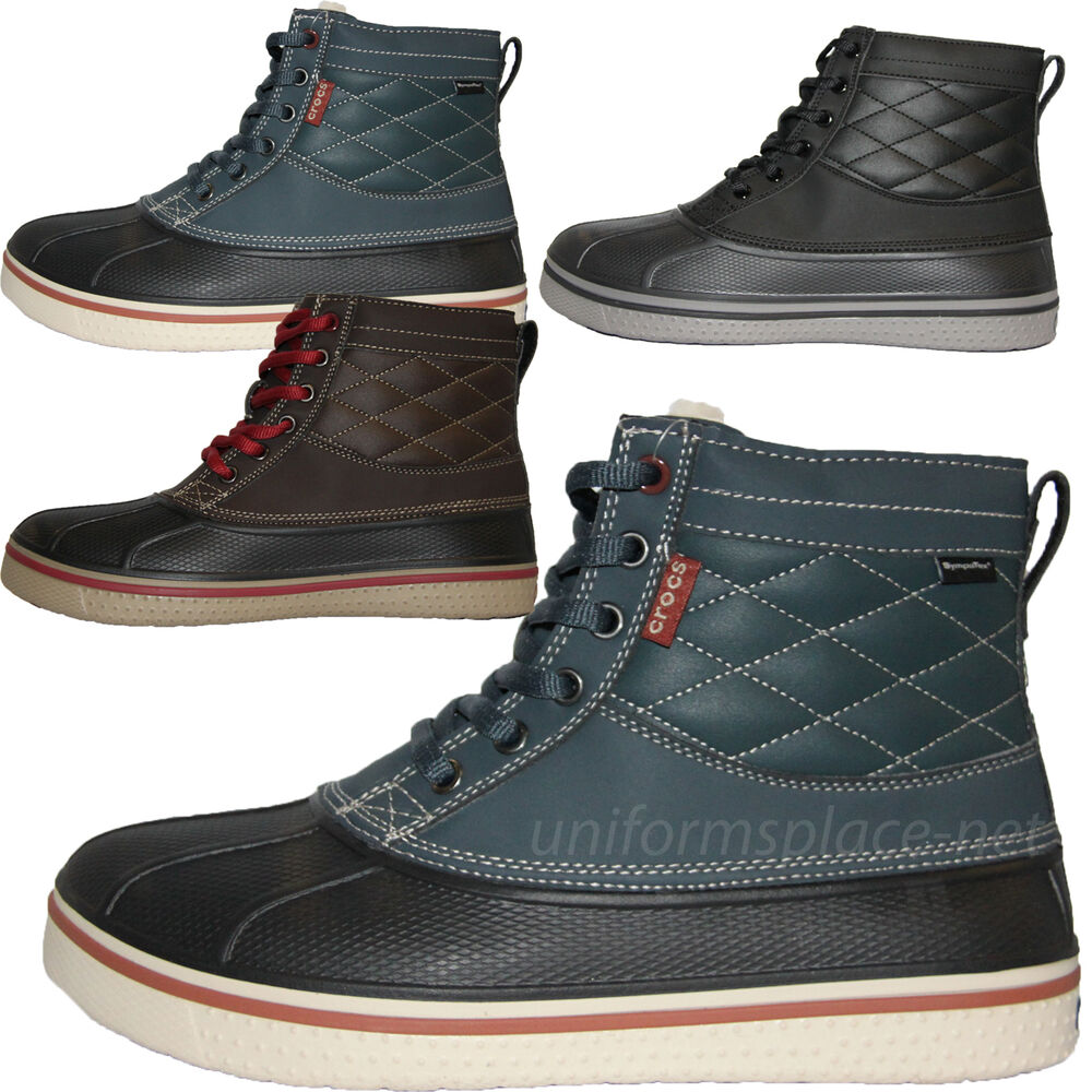 crocs boots mens allcast duck waterproof lace up boot