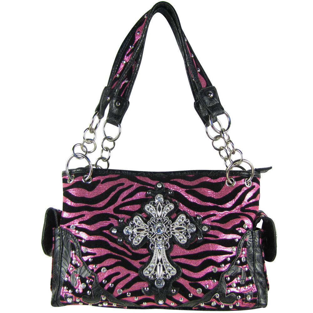 hot pink metallic zebra rhinestone cross shoulder handbag