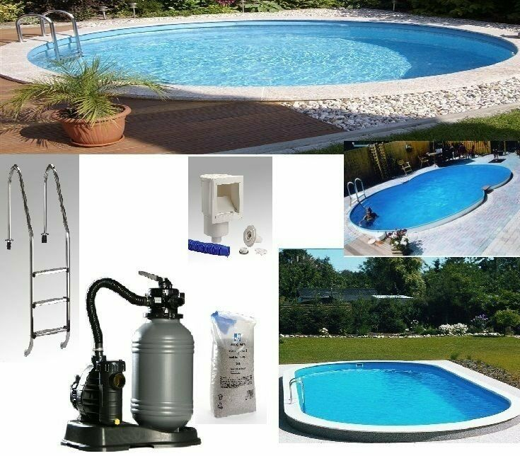 pool set komplett stahlwand swimmingpool schwimmbecken stahlmantel folie 0 8 mm ebay. Black Bedroom Furniture Sets. Home Design Ideas