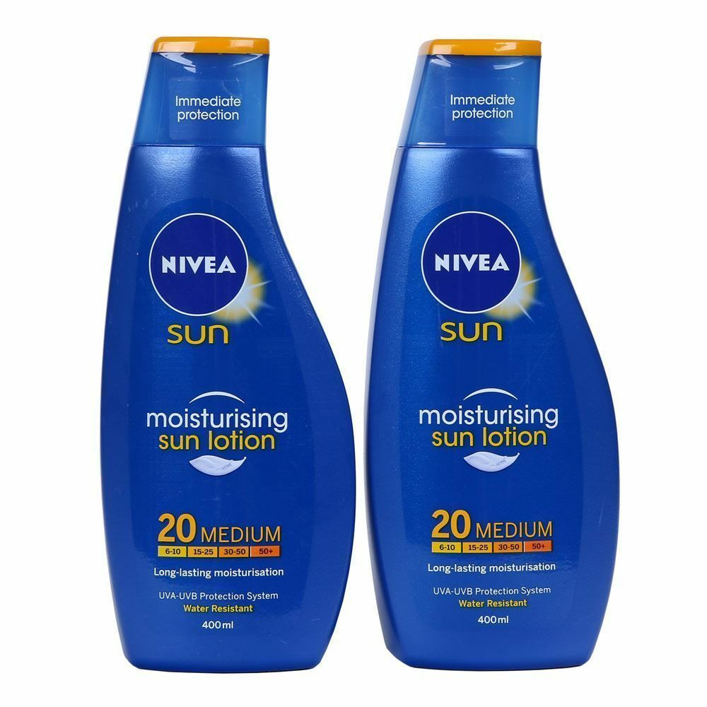 NIVEA Sun Cream Immediate Protection Moisturising Sun Lotion SPF 20 2 x 400 ml  | eBay