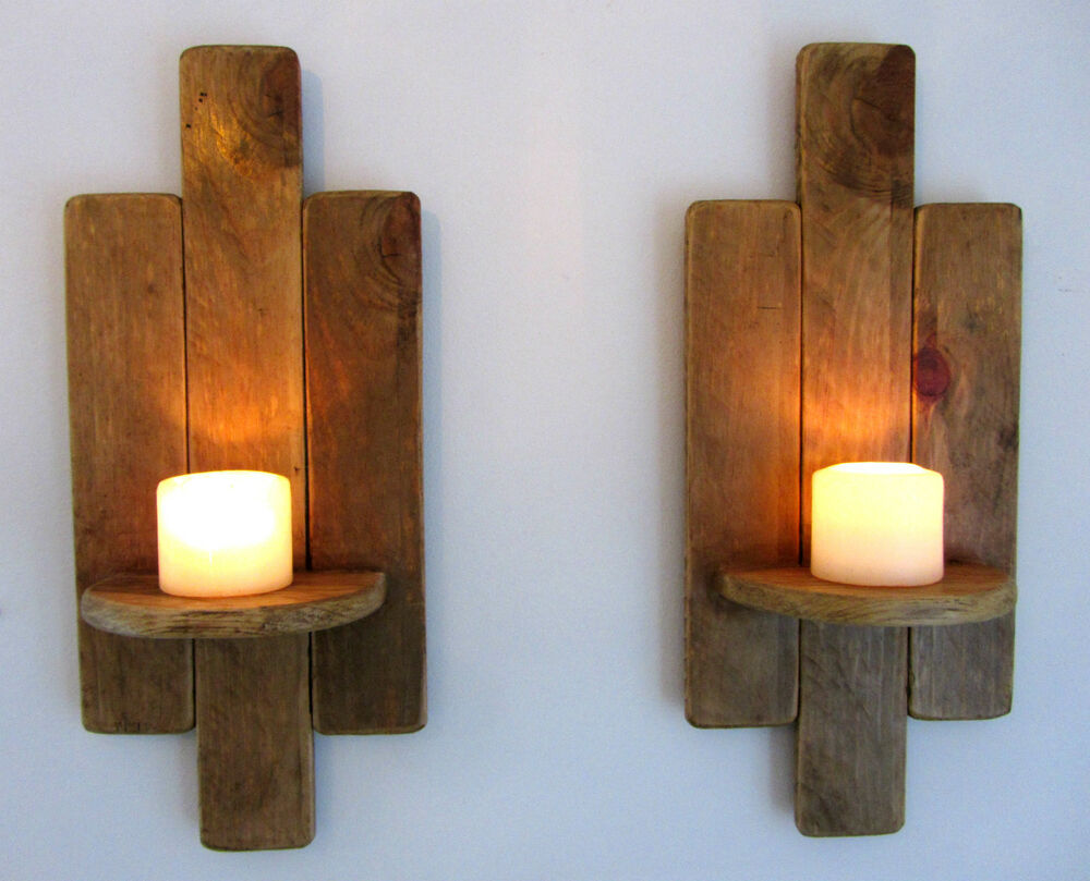 Wall Candle Sconces Wood : PAIR OF 48CM RECLAIMED PALLET WOOD FLOATING SHELF / WALL SCONCE CANDLE HOLDER eBay