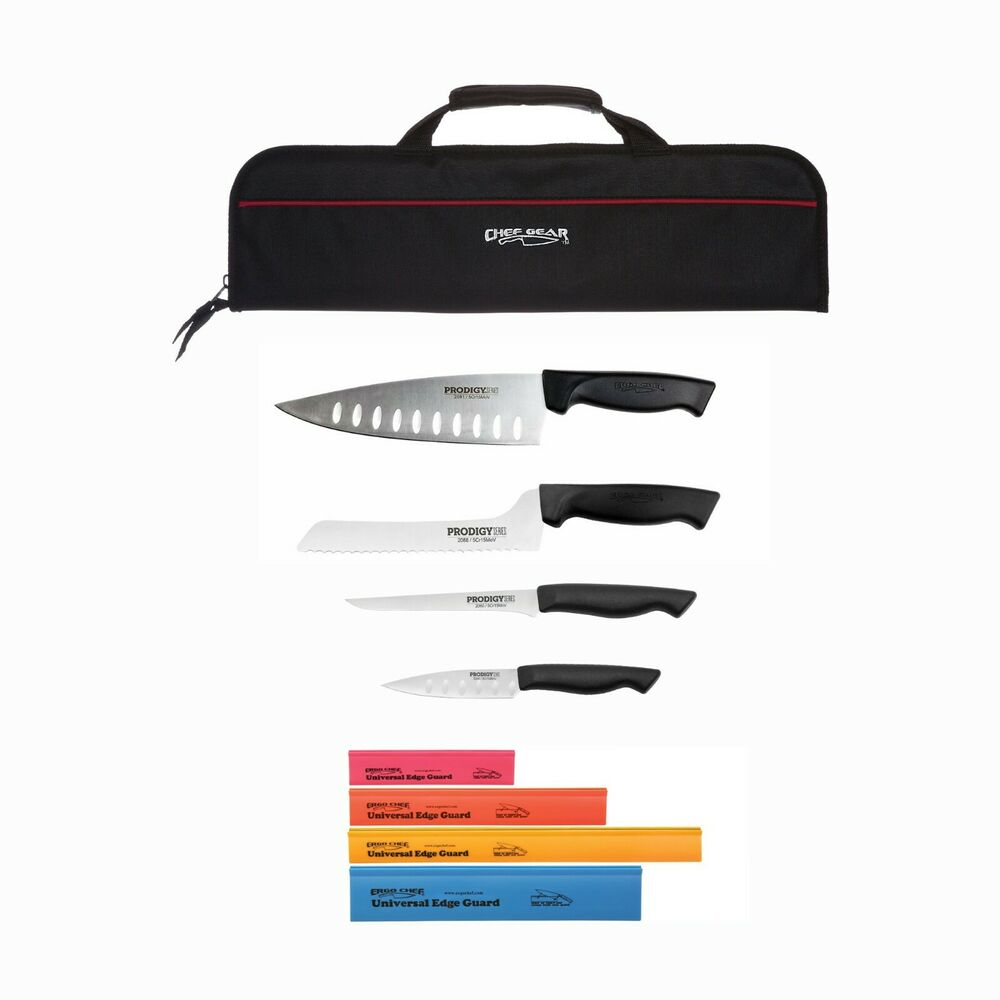 9 piece chef knife set with knife carrying bag ebay. Black Bedroom Furniture Sets. Home Design Ideas