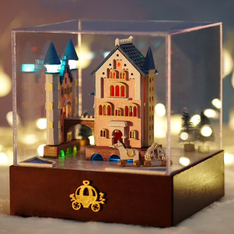 diy dollhouse miniature kit music box castle rotate carriage christmas gift ebay. Black Bedroom Furniture Sets. Home Design Ideas