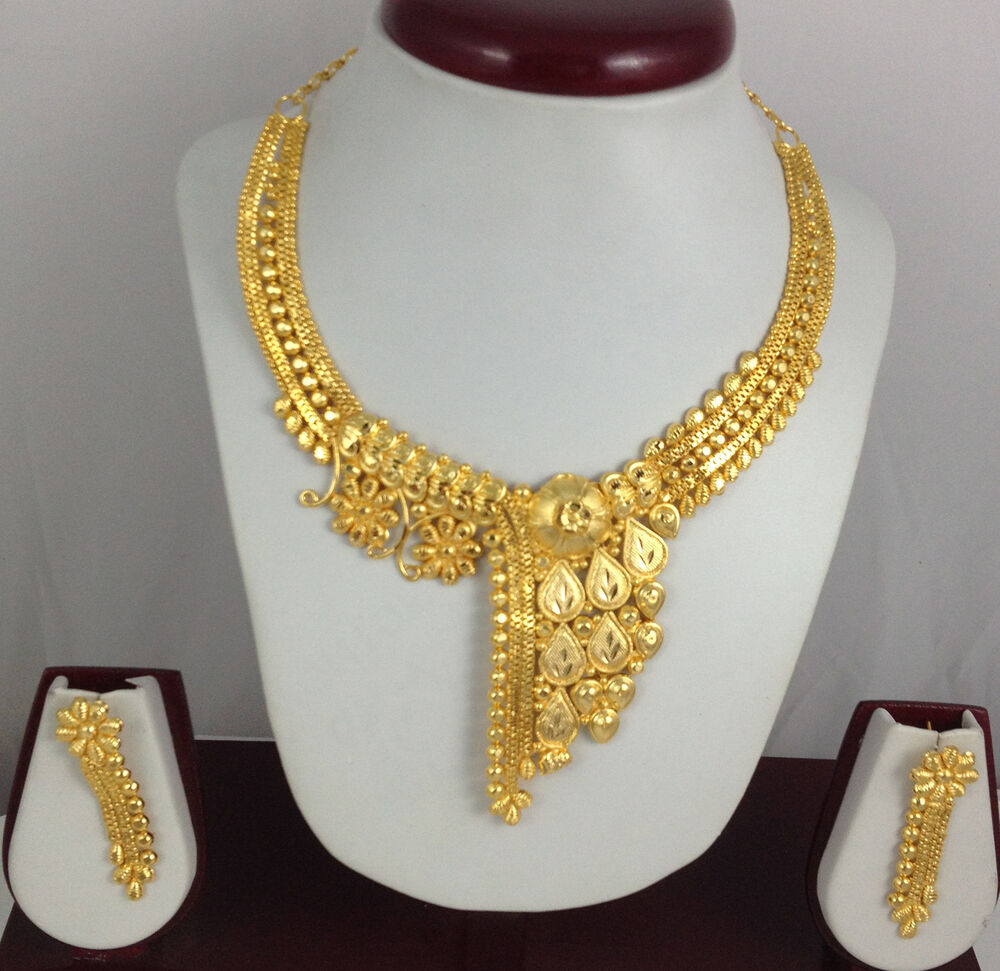 Indian Gold Plated Choker Necklace Traditional Bridal: Gold Plated Necklace Earrings Set Indian Beautiful Bridal