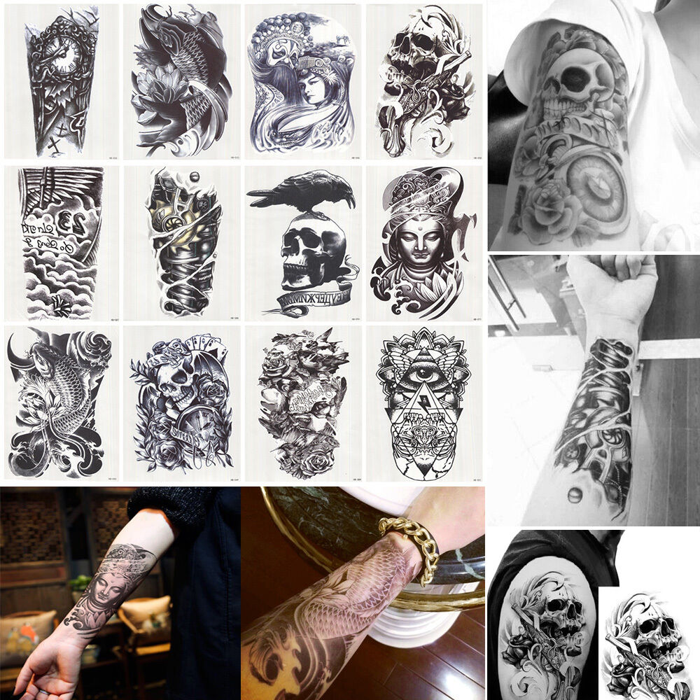 12 sheet large temporary tattoo body arm art removable for Temporary tattoo sticker