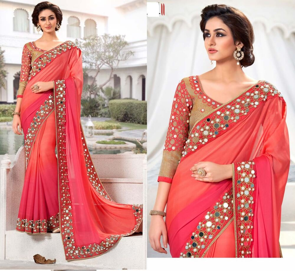 Sari Indian Bollywood Designer Saree Mirror Work Blouse