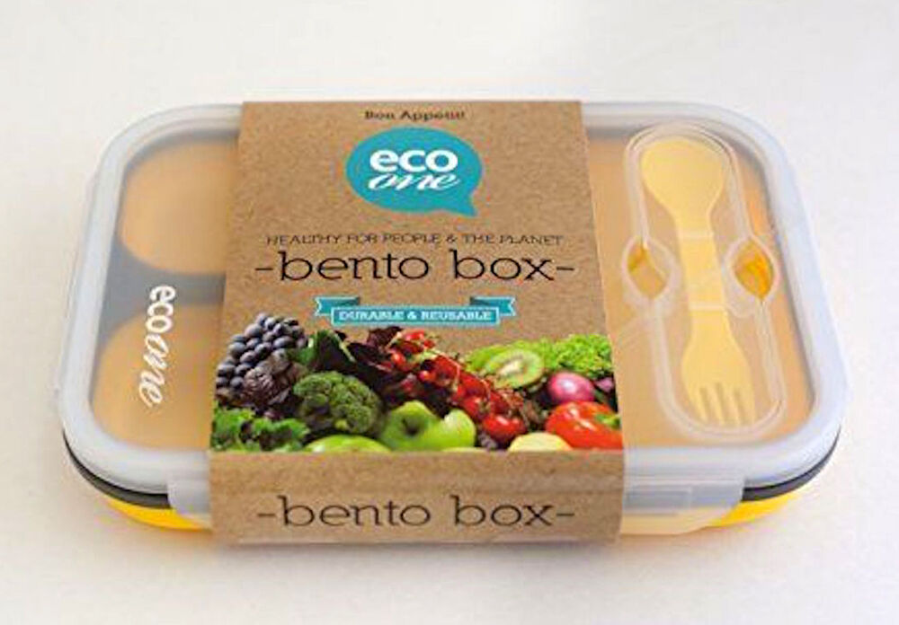 eco one bento lunch box 3 compartment large expandable base new yellow ebay. Black Bedroom Furniture Sets. Home Design Ideas