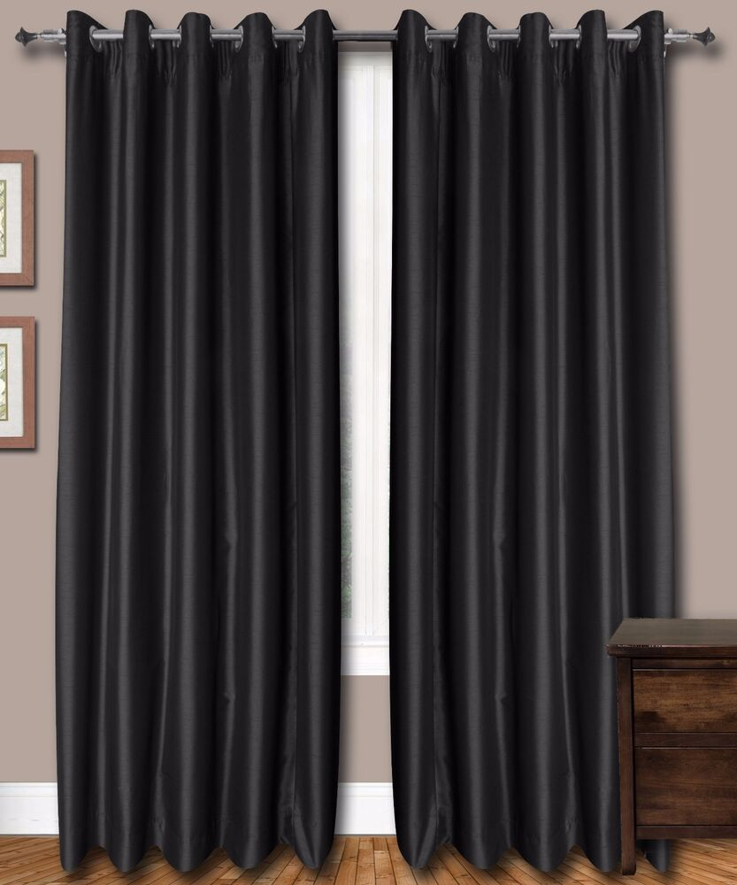 Black Faux Silk Curtains 51 Inch 130 Cms Wide Chose