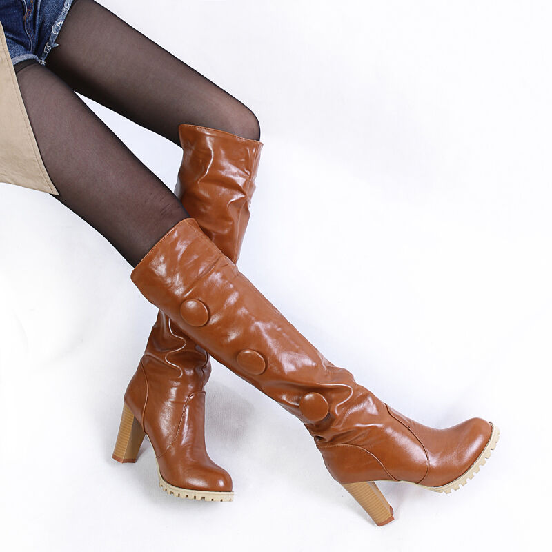 Vintage Womens Western Knee High High Heels Block Heels