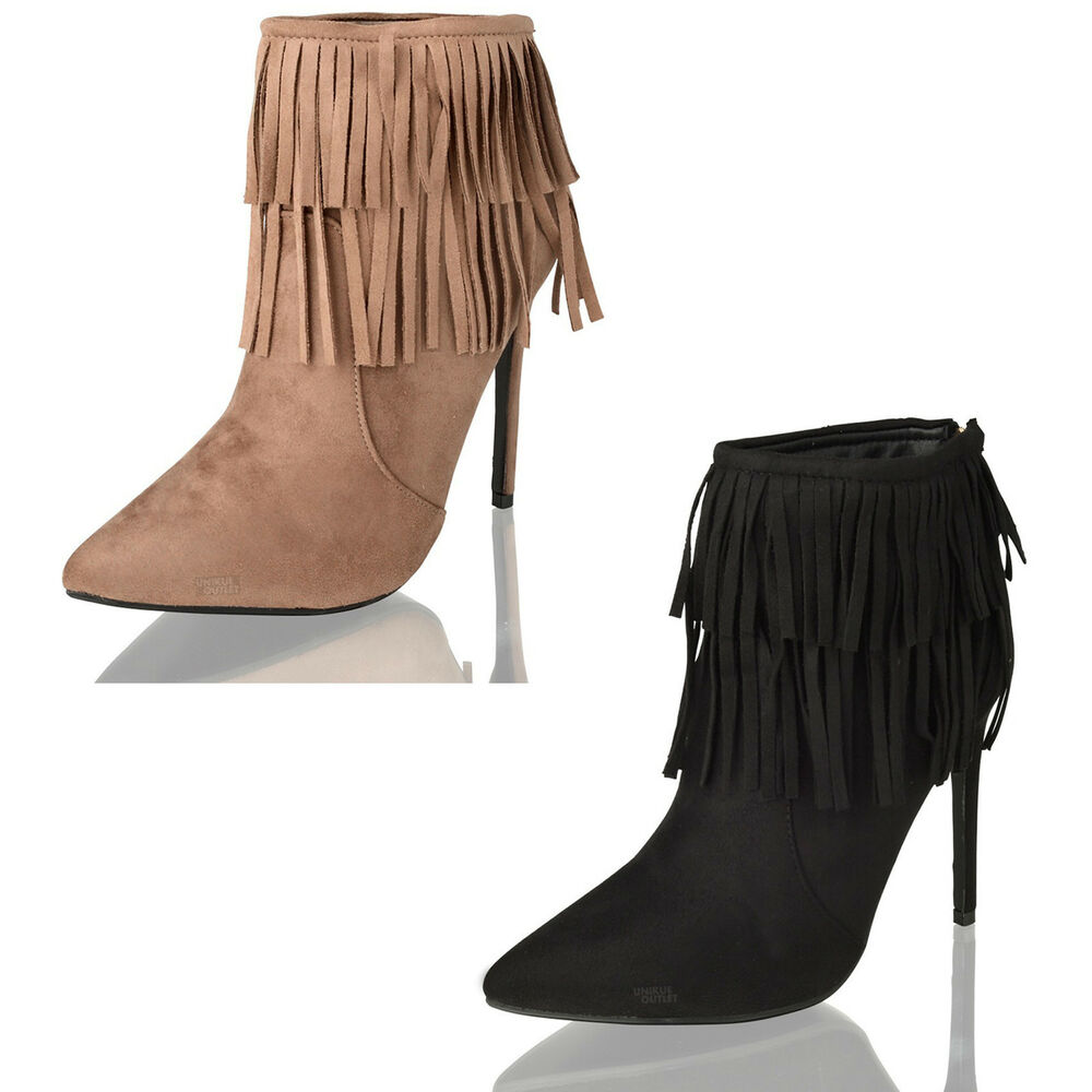womens stiletto high heel fringe faux suede ankle