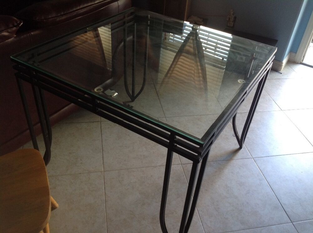 iron square dining table with glass top 38 x 38 x 29 5